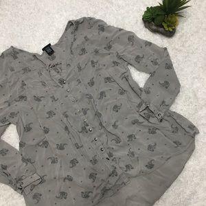 Torrid Gray Button Up Blouse
